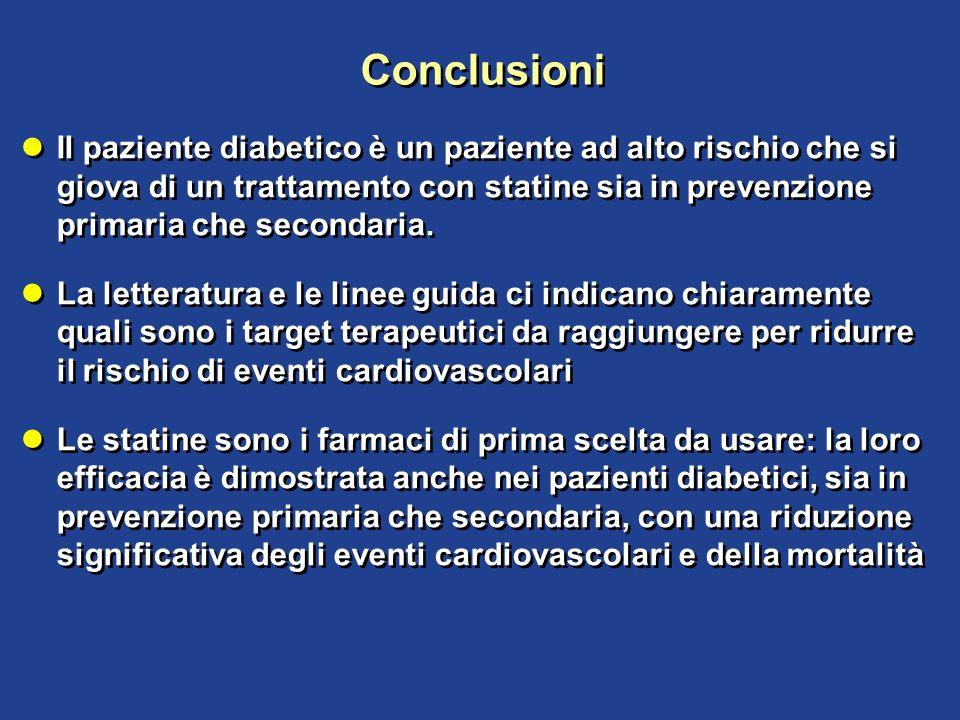 Conclusioni Il paziente diabetico è un paziente ad alto rischio che si giova di un trattamento con statine sia in prevenzione primaria che secondaria.