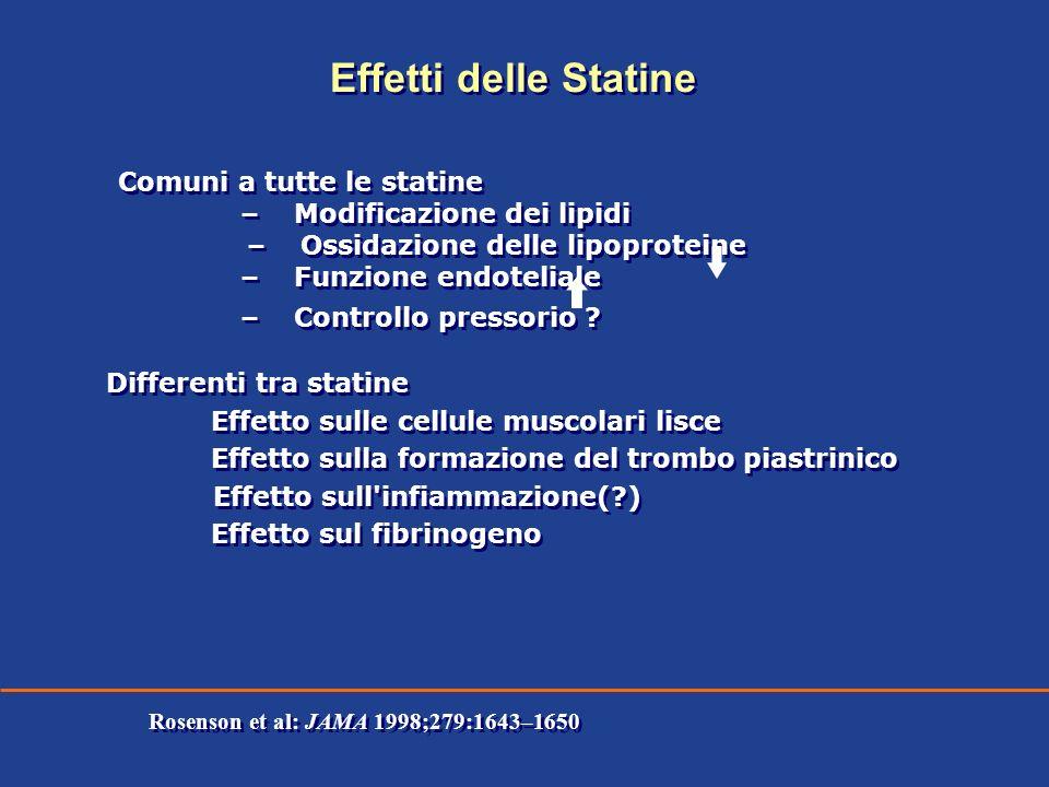 Comuni a tutte le statine – Modificazione dei lipidi – Ossidazione delle lipoproteine – Funzione endoteliale – Controllo pressorio ? Differenti tra st