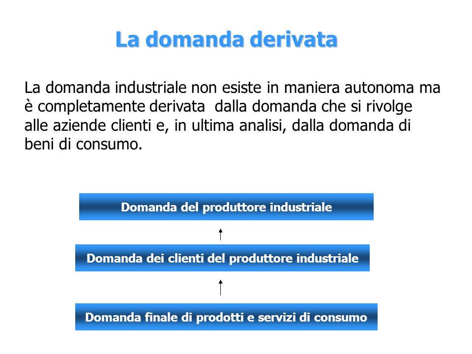 La domanda derivata La domanda industriale non esiste in maniera autonoma ma è completamente derivata dalla domanda che si rivolge alle aziende client