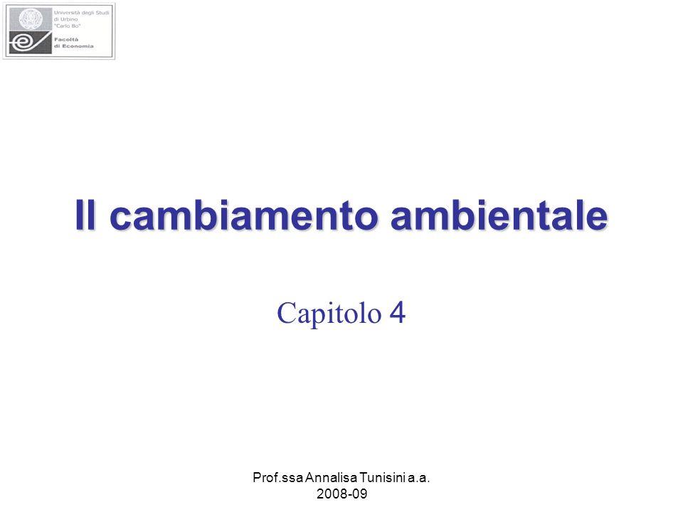 Prof.ssa Annalisa Tunisini a.a. 2008-09 Il cambiamento ambientale Capitolo 4