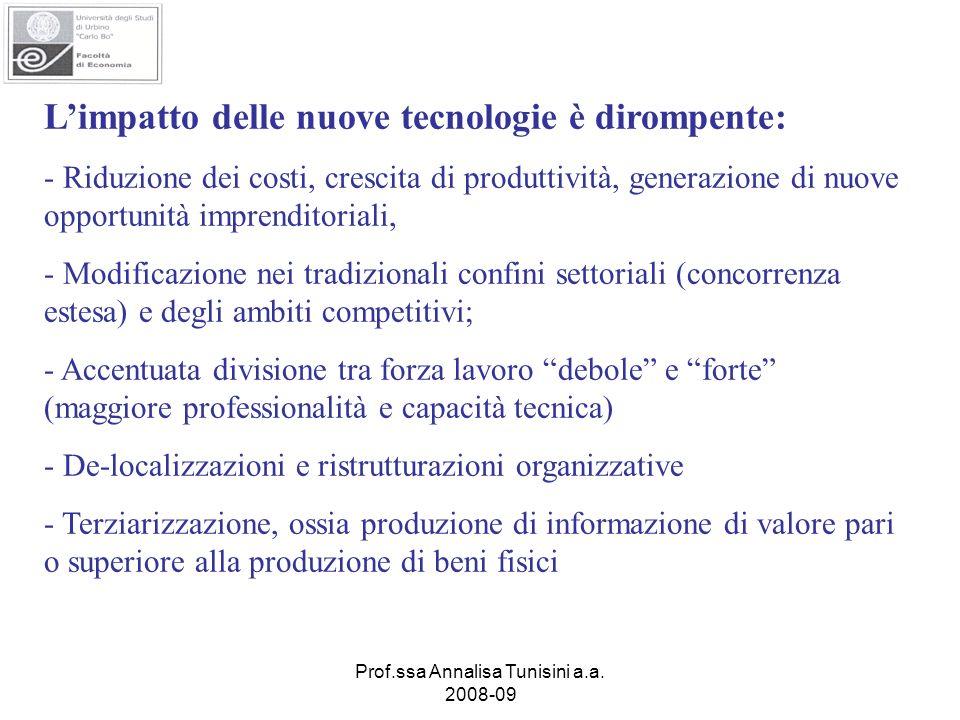 Prof.ssa Annalisa Tunisini a.a. 2008-09 Limpatto delle nuove tecnologie è dirompente: - Riduzione dei costi, crescita di produttività, generazione di