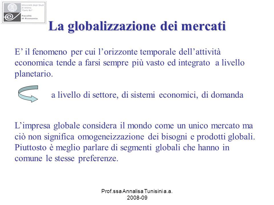 Prof.ssa Annalisa Tunisini a.a. 2008-09 La globalizzazione dei mercati E il fenomeno per cui lorizzonte temporale dellattività economica tende a farsi