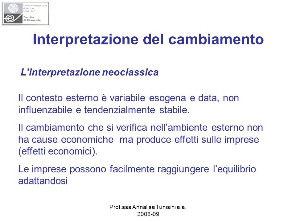 Prof.ssa Annalisa Tunisini a.a. 2008-09 Interpretazione del cambiamento Linterpretazione neoclassica Il contesto esterno è variabile esogena e data, n