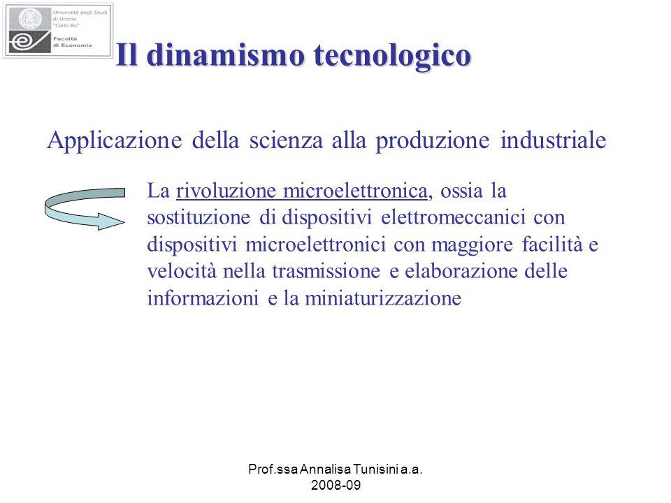 Prof.ssa Annalisa Tunisini a.a. 2008-09 Il dinamismo tecnologico Applicazione della scienza alla produzione industriale La rivoluzione microelettronic