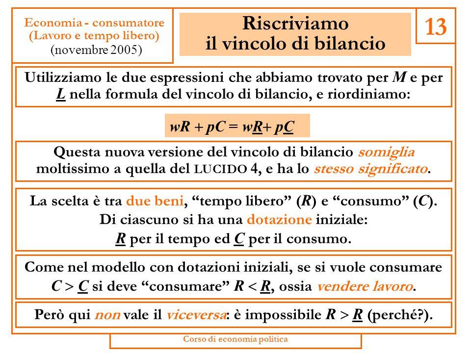 Dotazioni di consumo e di tempo Dal vincolo di tempo R = L L possiamo ricavare L = L R (ossia, il lavoro offerto è la differenza tra tempo disponibile