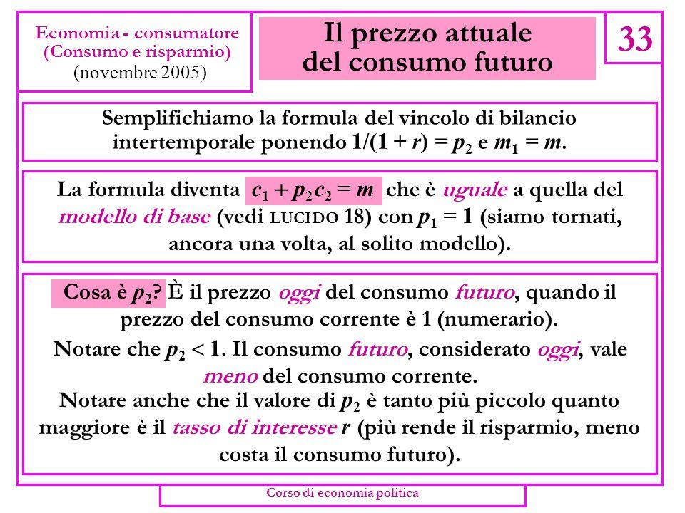 Il vincolo di bilancio 32 Economia - consumatore (Consumo e risparmio) (novembre 2005) Quello del secondo periodo sarà c 2 = m 2 = (1 + r)S (si consum