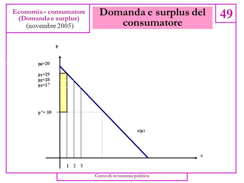 Domanda e surplus del consumatore 47 Economia - consumatore (Domanda e surplus) (novembre 2005) Corso di economia politica