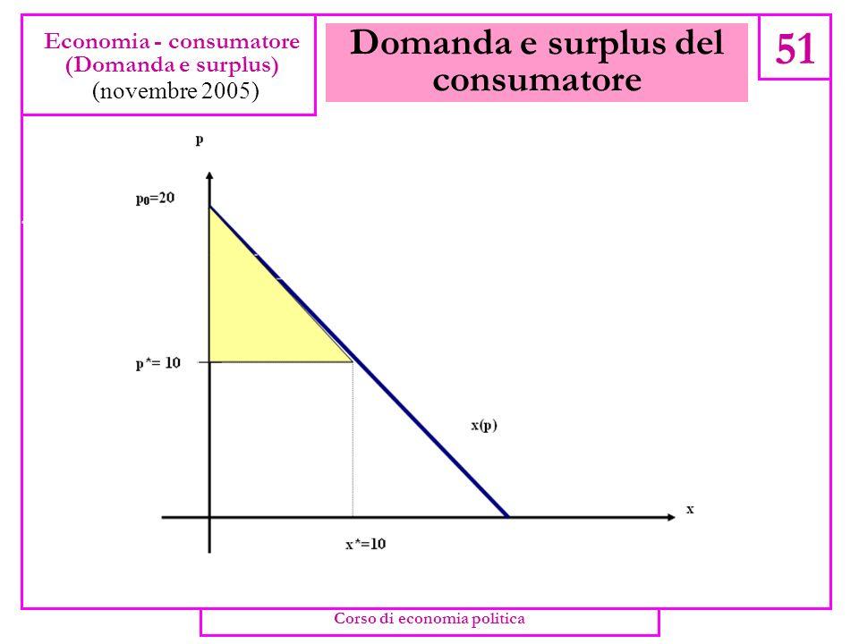 Domanda e surplus del consumatore 50 Economia - consumatore (Domanda e surplus) (novembre 2005) Corso di economia politica