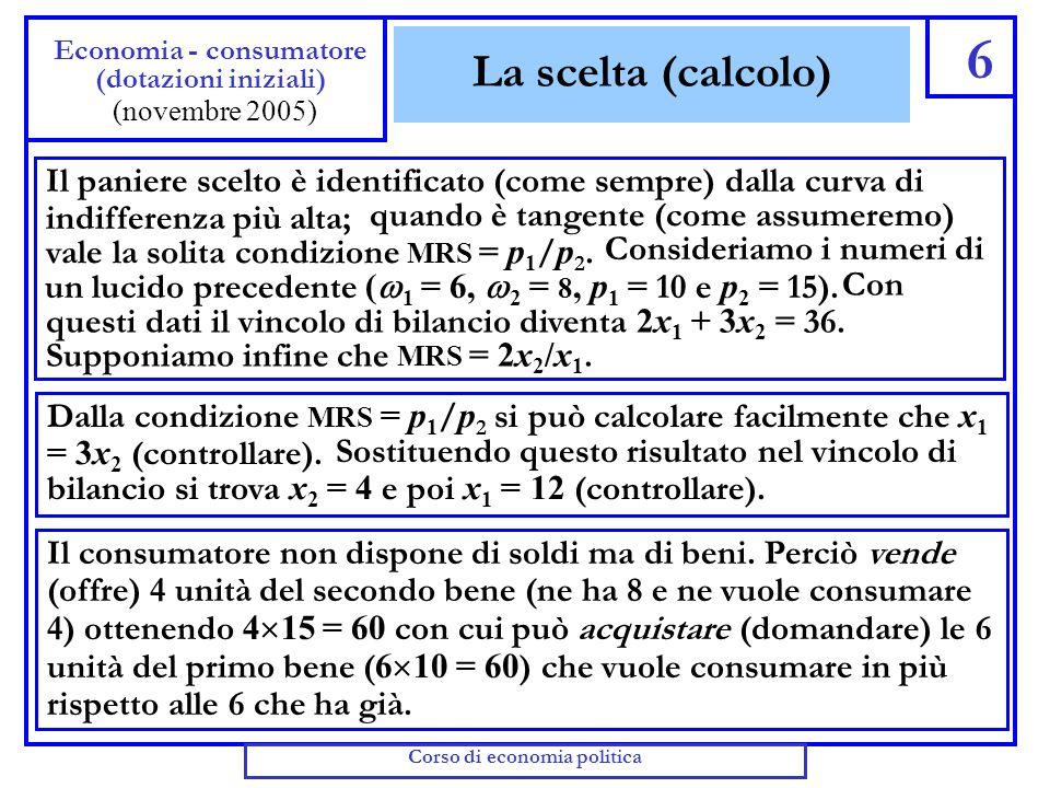 La scelta (grafico) 5 Economia - consumatore (dotazioni iniziali) (novembre 2005) E S e2e2 x1x1 0 x2x2 e1e1 x2x2 * x1x1 * Inizialmente il consumatore