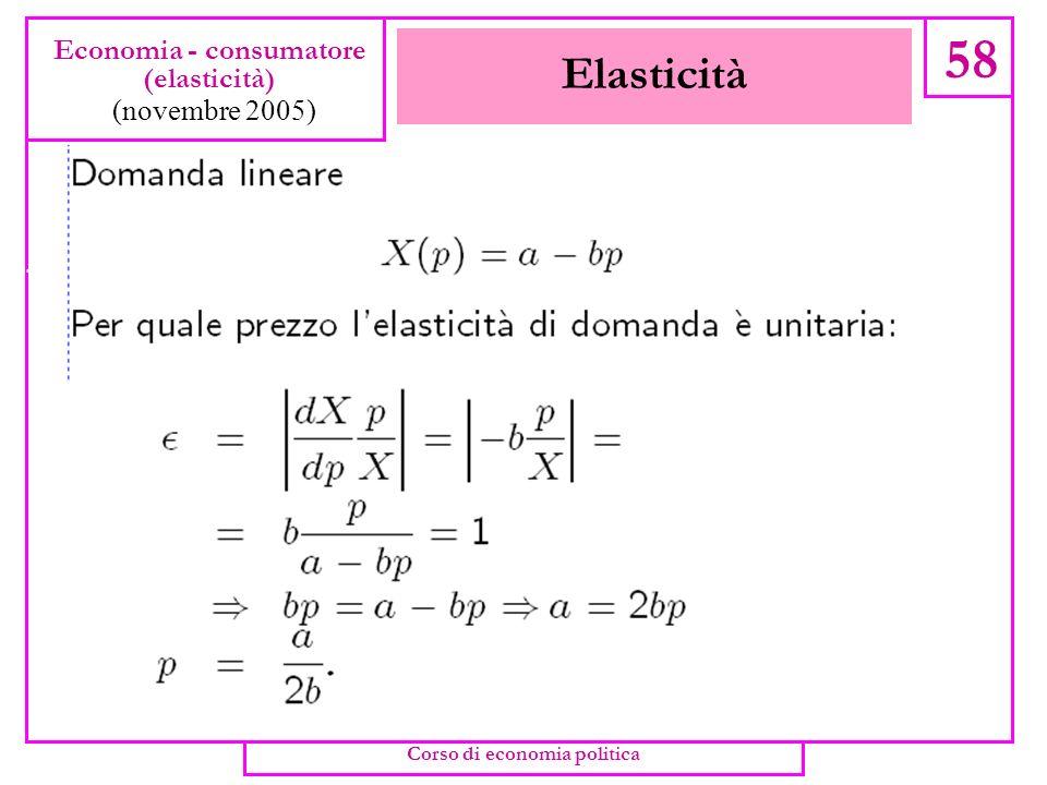 Elasticità di domanda 57 Economia - consumatore (elasticità) (novembre 2005) Corso di economia politica