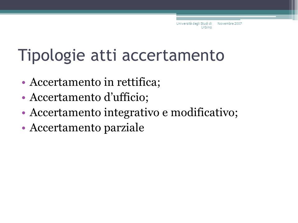 Tipologie atti accertamento Accertamento in rettifica; Accertamento dufficio; Accertamento integrativo e modificativo; Accertamento parziale Novembre