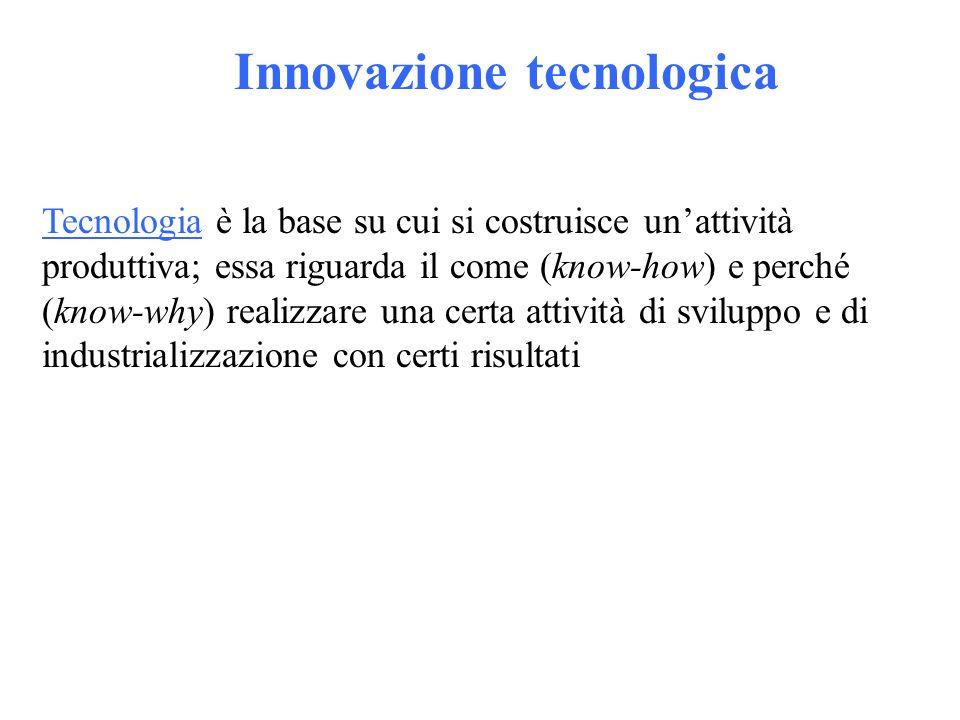 Innovazione tecnologica Tecnologia è la base su cui si costruisce unattività produttiva; essa riguarda il come (know-how) e perché (know-why) realizzare una certa attività di sviluppo e di industrializzazione con certi risultati