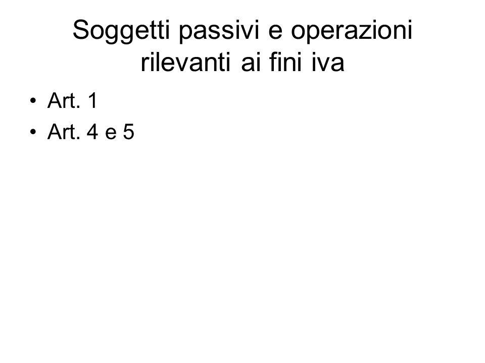 Soggetti passivi e operazioni rilevanti ai fini iva Art. 1 Art. 4 e 5