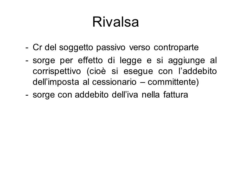 Rivalsa -Cr del soggetto passivo verso controparte -sorge per effetto di legge e si aggiunge al corrispettivo (cioè si esegue con laddebito dellimpost