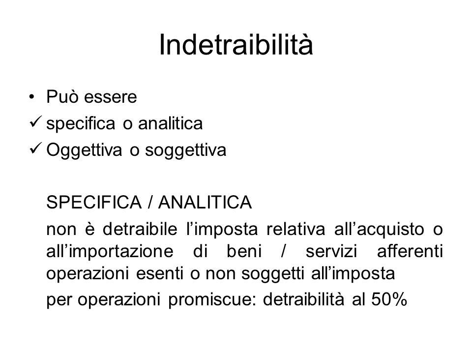 Indetraibilità Può essere specifica o analitica Oggettiva o soggettiva SPECIFICA / ANALITICA non è detraibile limposta relativa allacquisto o allimpor