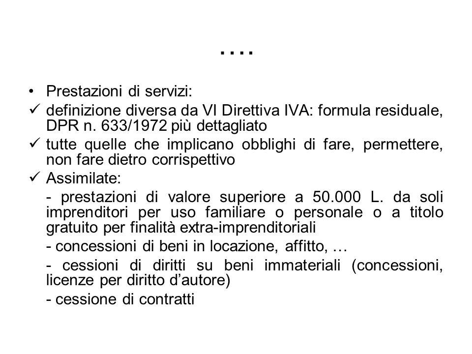 …. Prestazioni di servizi: definizione diversa da VI Direttiva IVA: formula residuale, DPR n. 633/1972 più dettagliato tutte quelle che implicano obbl