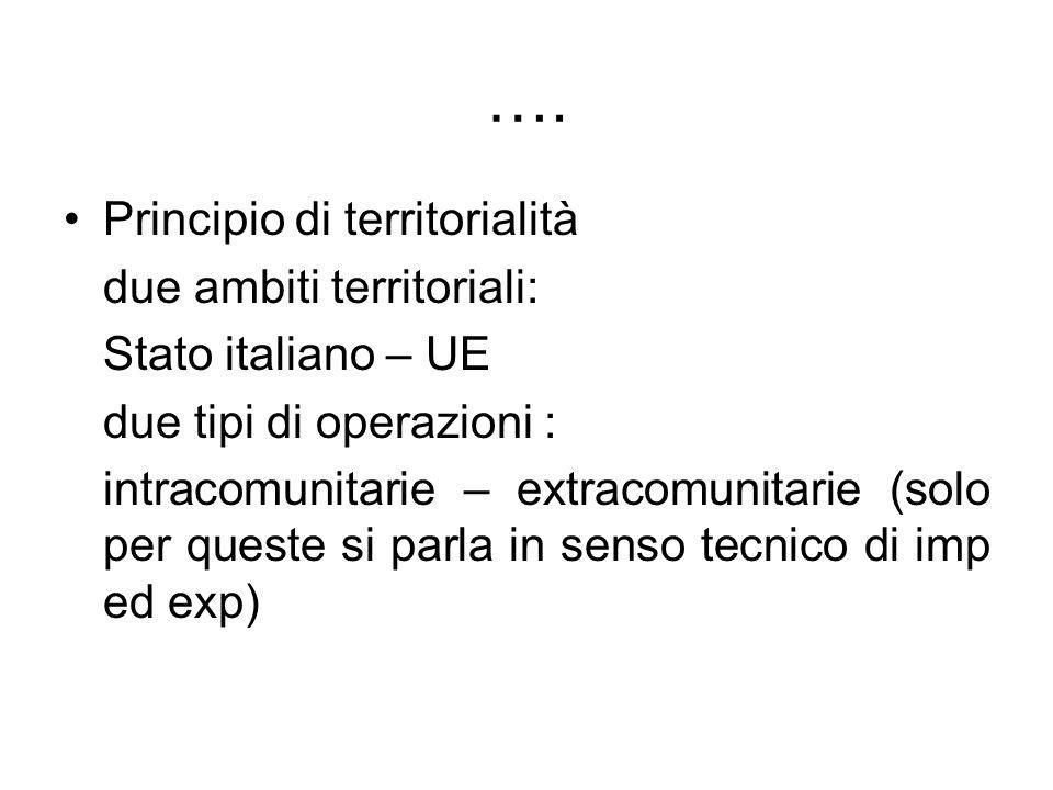 …. Principio di territorialità due ambiti territoriali: Stato italiano – UE due tipi di operazioni : intracomunitarie – extracomunitarie (solo per que