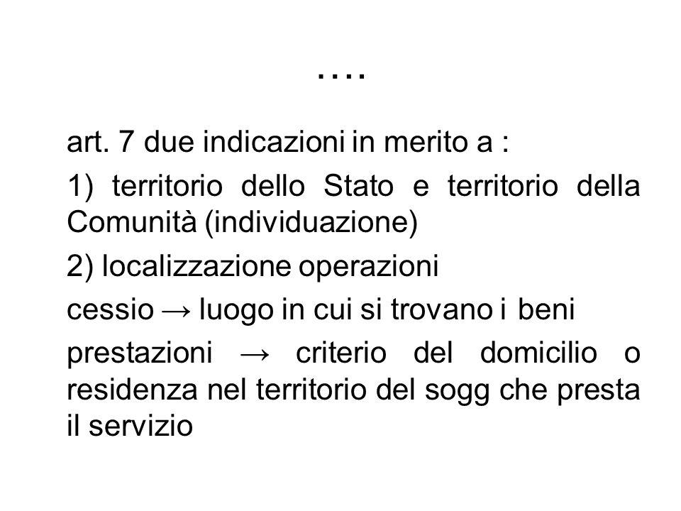 …. art. 7 due indicazioni in merito a : 1) territorio dello Stato e territorio della Comunità (individuazione) 2) localizzazione operazioni cessio luo