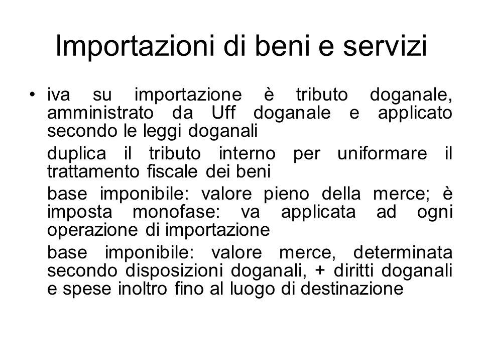 Importazioni di beni e servizi iva su importazione è tributo doganale, amministrato da Uff doganale e applicato secondo le leggi doganali duplica il t