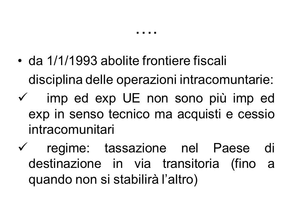 …. da 1/1/1993 abolite frontiere fiscali disciplina delle operazioni intracomuntarie: imp ed exp UE non sono più imp ed exp in senso tecnico ma acquis