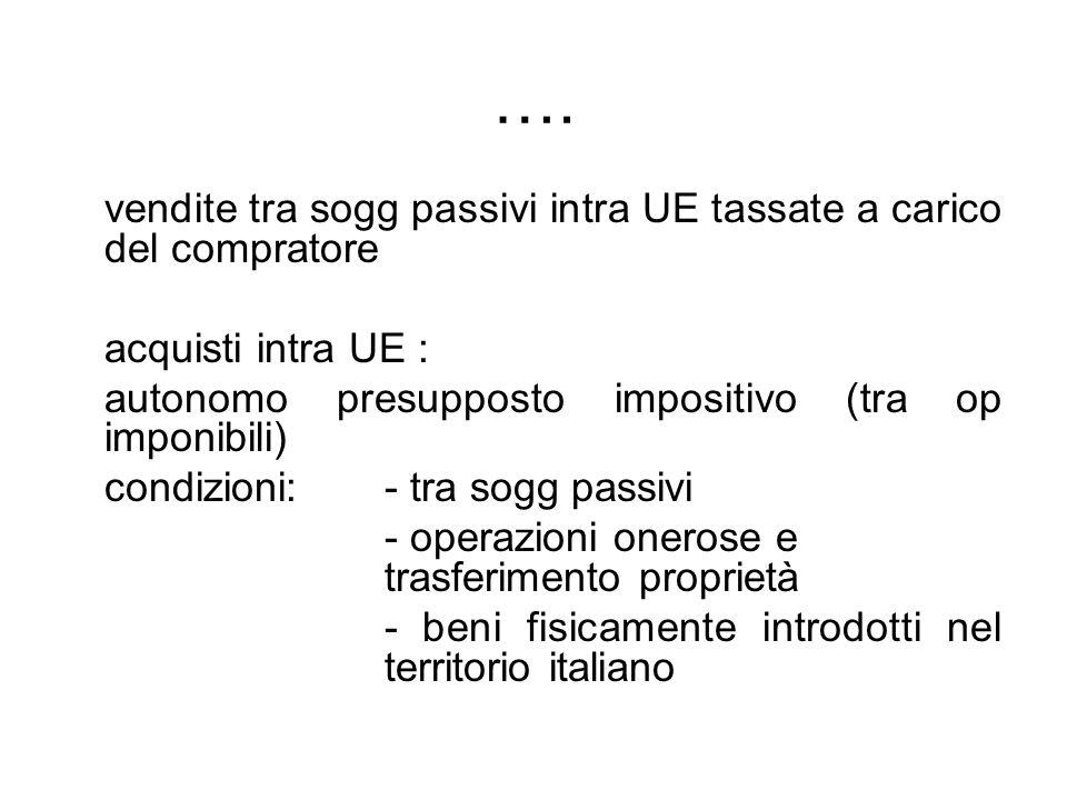 …. vendite tra sogg passivi intra UE tassate a carico del compratore acquisti intra UE : autonomo presupposto impositivo (tra op imponibili) condizion