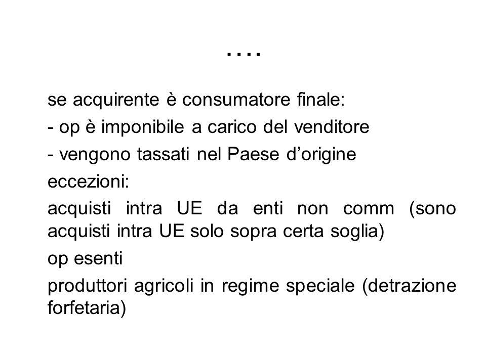 …. se acquirente è consumatore finale: - op è imponibile a carico del venditore - vengono tassati nel Paese dorigine eccezioni: acquisti intra UE da e