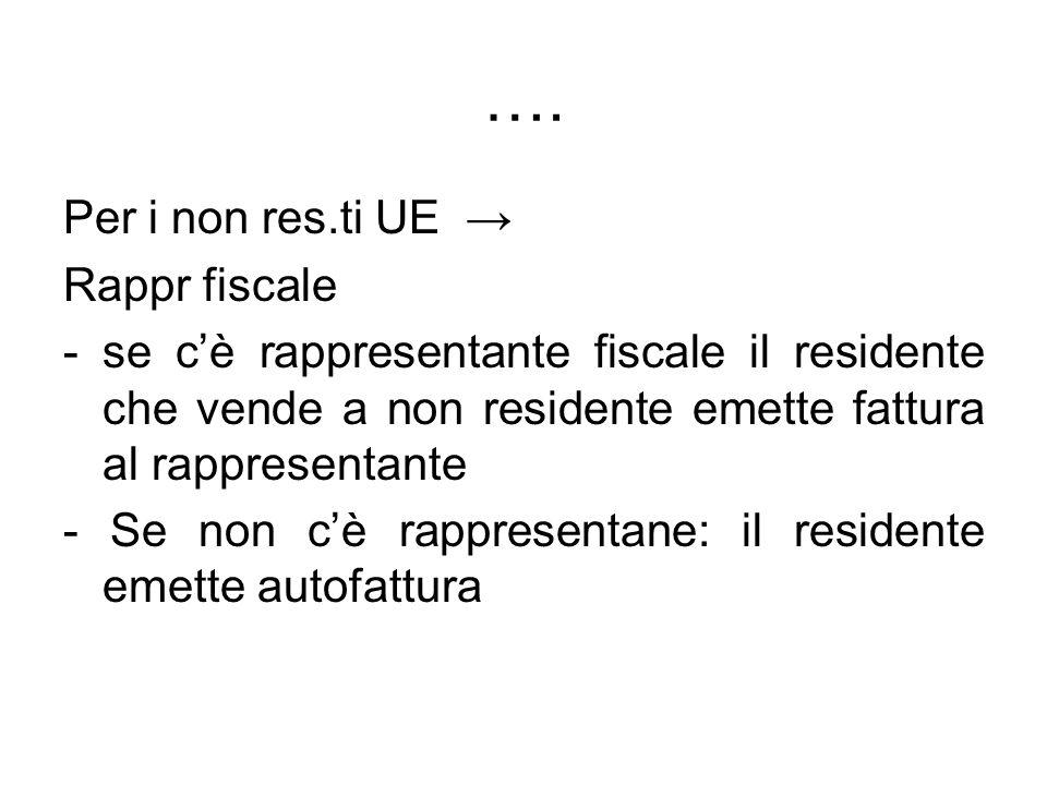 …. Per i non res.ti UE Rappr fiscale -se cè rappresentante fiscale il residente che vende a non residente emette fattura al rappresentante - Se non cè