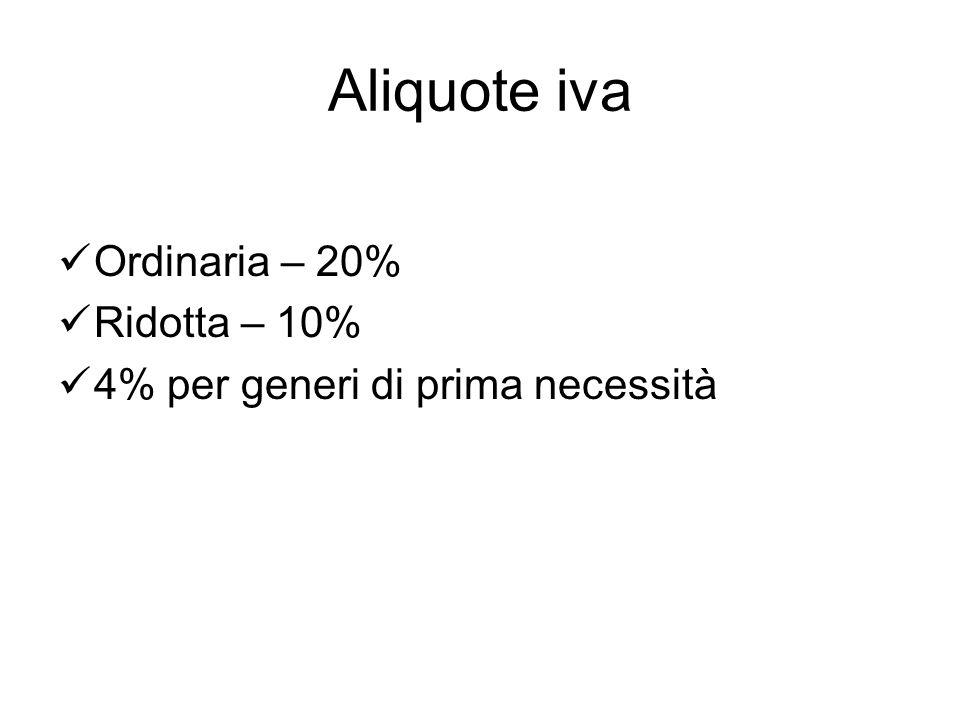 Aliquote iva Ordinaria – 20% Ridotta – 10% 4% per generi di prima necessità