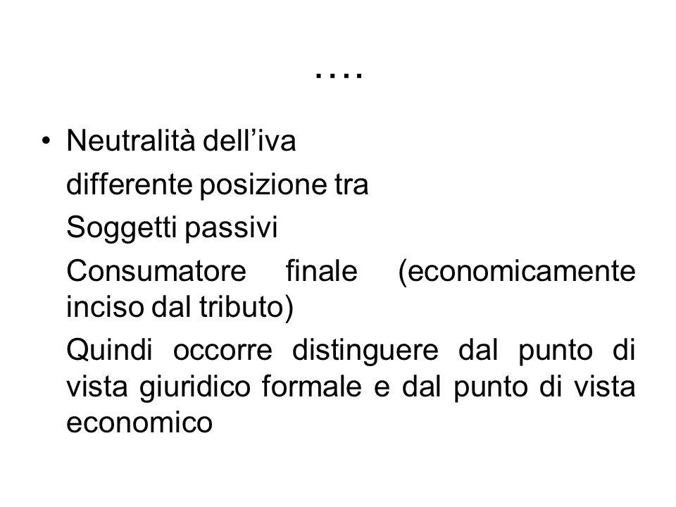 …. Neutralità delliva differente posizione tra Soggetti passivi Consumatore finale (economicamente inciso dal tributo) Quindi occorre distinguere dal