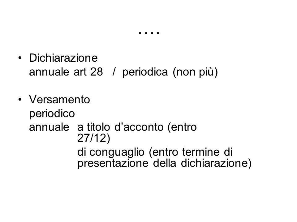 …. Dichiarazione annuale art 28 / periodica (non più) Versamento periodico annuale a titolo dacconto (entro 27/12) di conguaglio (entro termine di pre