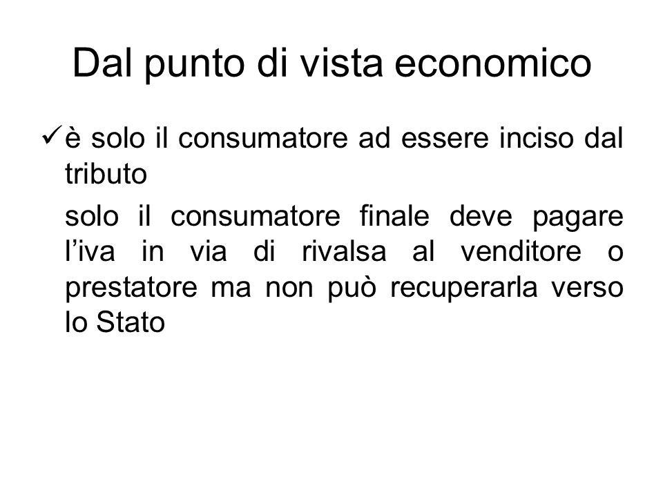 Dal punto di vista economico è solo il consumatore ad essere inciso dal tributo solo il consumatore finale deve pagare liva in via di rivalsa al vendi