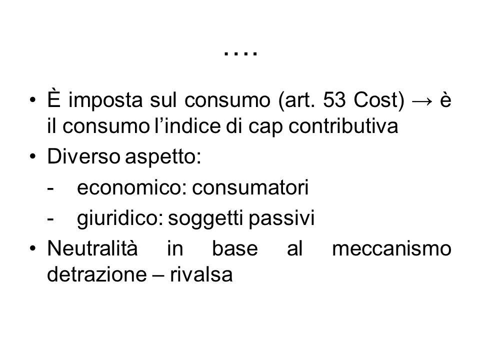 …. È imposta sul consumo (art. 53 Cost) è il consumo lindice di cap contributiva Diverso aspetto: - economico: consumatori - giuridico: soggetti passi