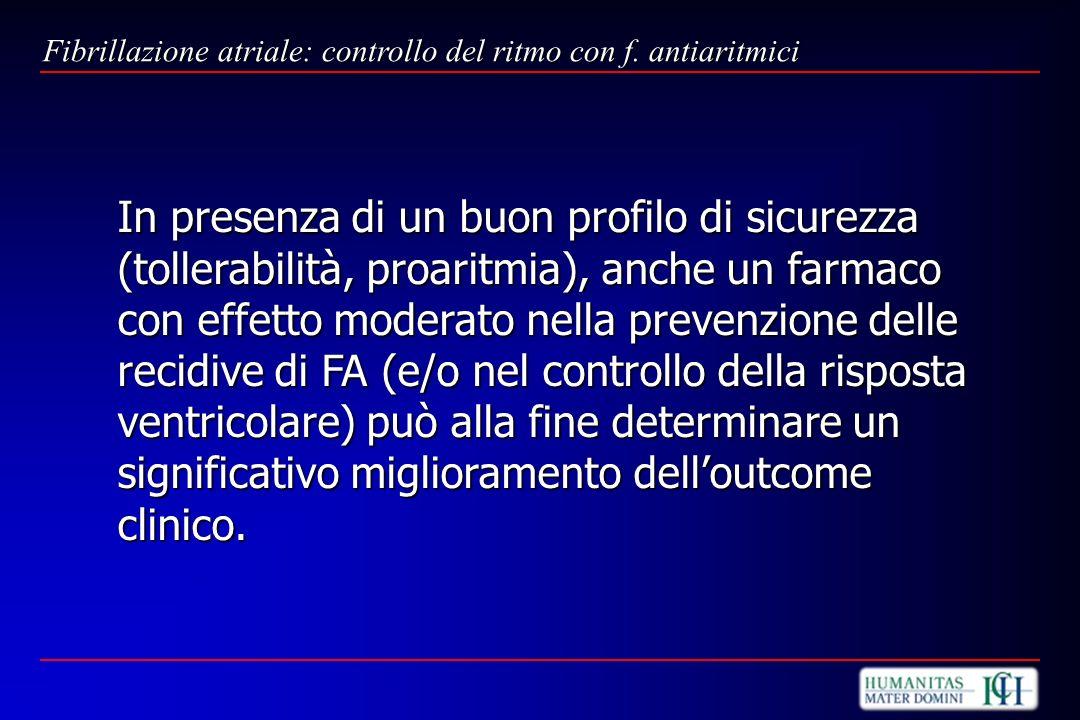 In presenza di un buon profilo di sicurezza (tollerabilità, proaritmia), anche un farmaco con effetto moderato nella prevenzione delle recidive di FA