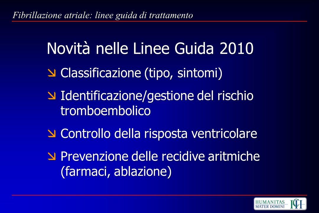 Novità nelle Linee Guida 2010 Classificazione (tipo, sintomi) Classificazione (tipo, sintomi) Identificazione/gestione del rischio tromboembolico Iden