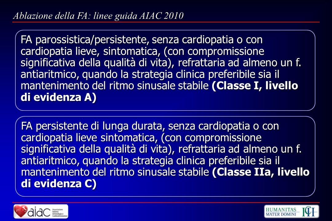 FA parossistica/persistente, senza cardiopatia o con cardiopatia lieve, sintomatica, (con compromissione significativa della qualità di vita), refratt