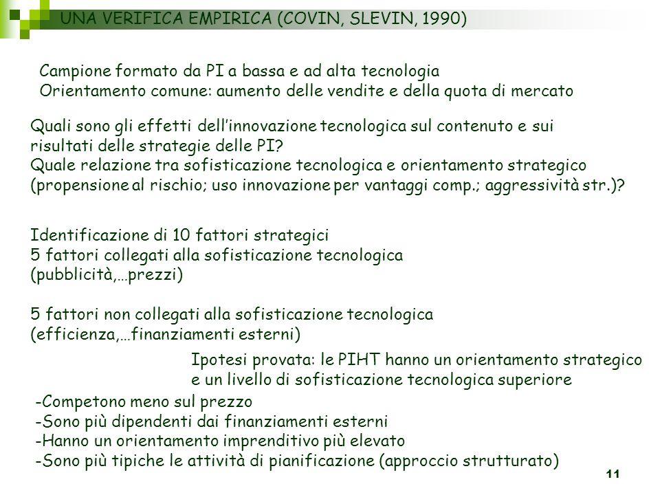 11 UNA VERIFICA EMPIRICA (COVIN, SLEVIN, 1990) Campione formato da PI a bassa e ad alta tecnologia Orientamento comune: aumento delle vendite e della