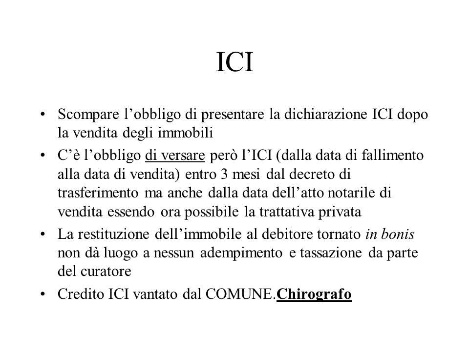 ICI Scompare lobbligo di presentare la dichiarazione ICI dopo la vendita degli immobili Cè lobbligo di versare però lICI (dalla data di fallimento all
