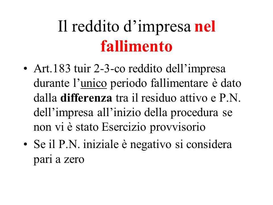 Il reddito dimpresa nel fallimento Art.183 tuir 2-3-co reddito dellimpresa durante lunico periodo fallimentare è dato dalla differenza tra il residuo