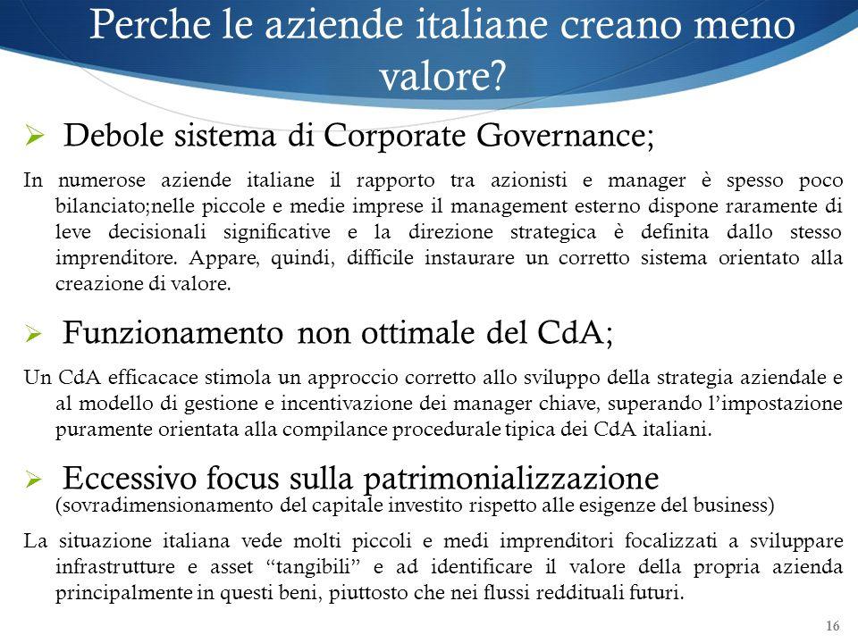 16 Perche le aziende italiane creano meno valore? Debole sistema di Corporate Governance; In numerose aziende italiane il rapporto tra azionisti e man