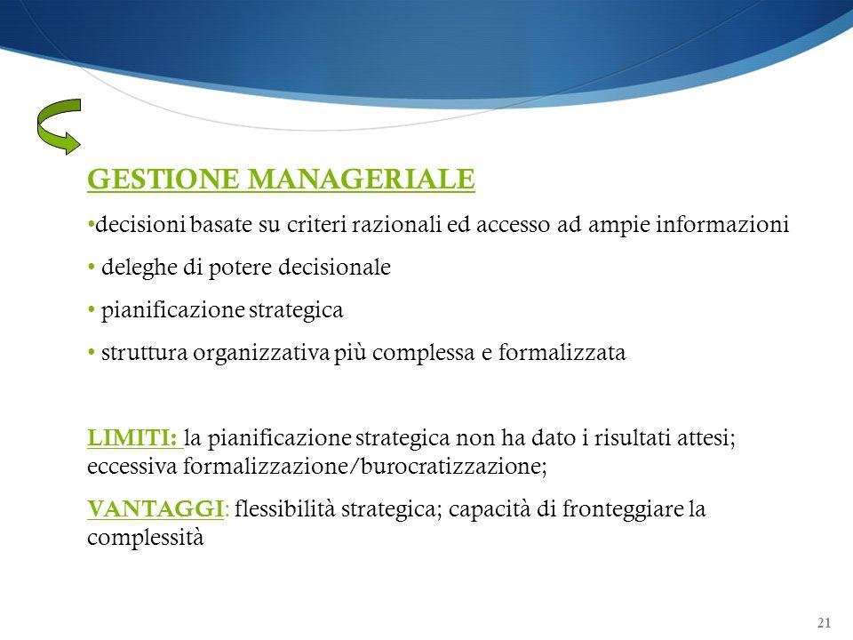 21 GESTIONE MANAGERIALE decisioni basate su criteri razionali ed accesso ad ampie informazioni deleghe di potere decisionale pianificazione strategica