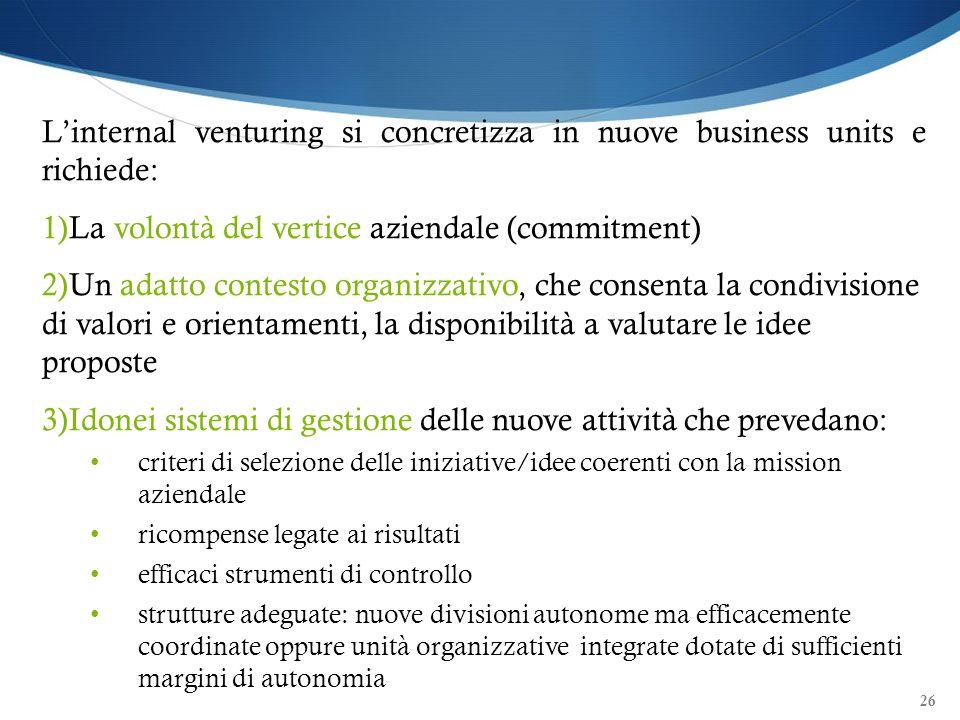26 Linternal venturing si concretizza in nuove business units e richiede: 1)La volontà del vertice aziendale (commitment) 2)Un adatto contesto organiz