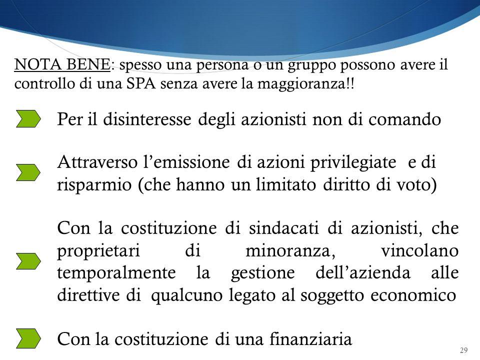 29 NOTA BENE: spesso una persona o un gruppo possono avere il controllo di una SPA senza avere la maggioranza!! Per il disinteresse degli azionisti no