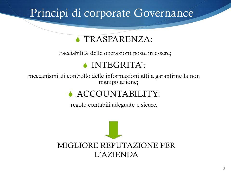 Principi di corporate Governance TRASPARENZA: tracciabilità delle operazioni poste in essere; INTEGRITA: meccanismi di controllo delle informazioni at