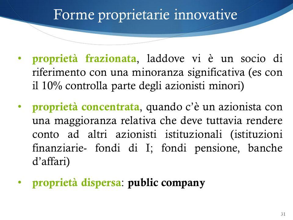 31 proprietà frazionata, laddove vi è un socio di riferimento con una minoranza significativa (es con il 10% controlla parte degli azionisti minori) p