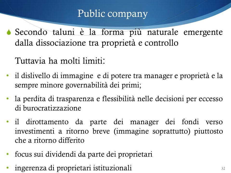32 Public company Secondo taluni è la forma più naturale emergente dalla dissociazione tra proprietà e controllo Tuttavia ha molti limiti : il dislive