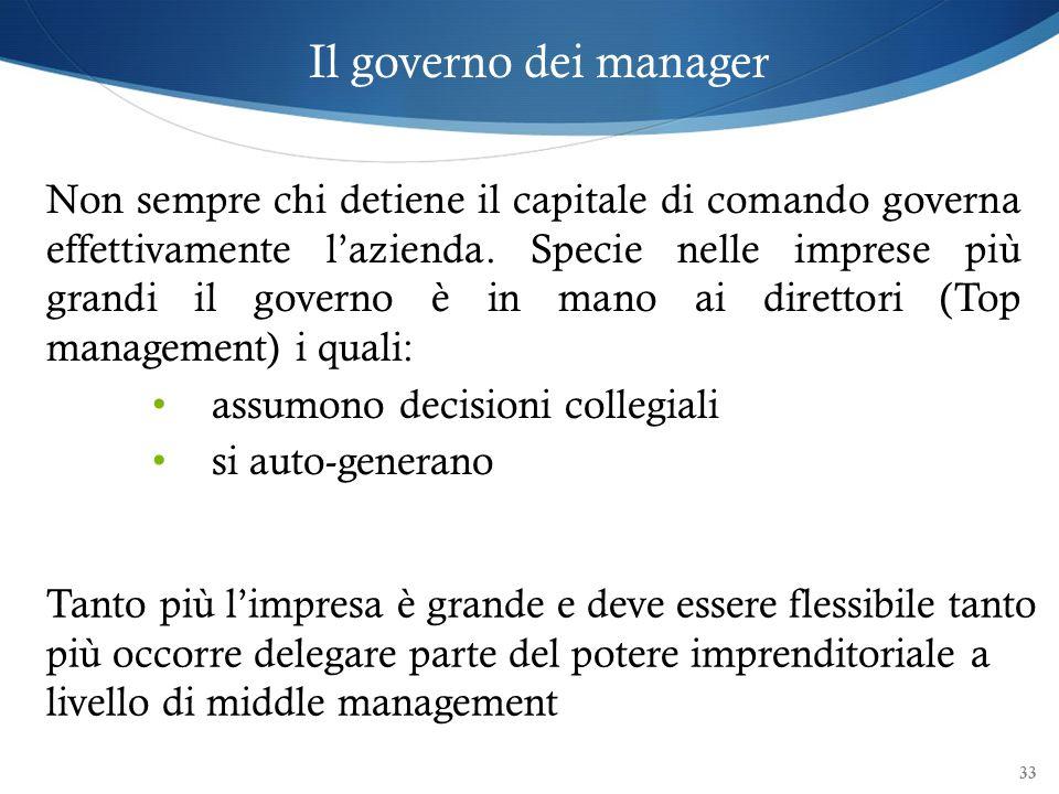 Il governo dei manager Non sempre chi detiene il capitale di comando governa effettivamente lazienda. Specie nelle imprese più grandi il governo è in