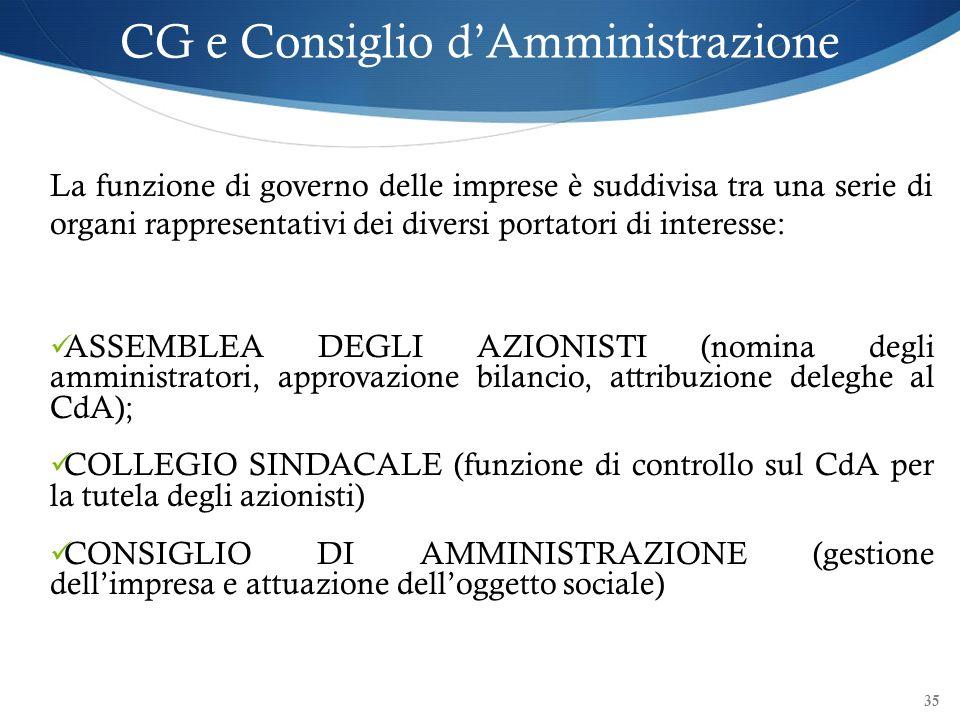 35 CG e Consiglio dAmministrazione La funzione di governo delle imprese è suddivisa tra una serie di organi rappresentativi dei diversi portatori di i