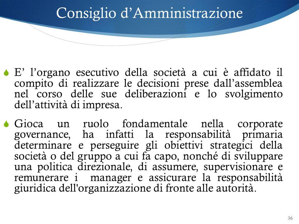 36 Consiglio dAmministrazione E lorgano esecutivo della società a cui è affidato il compito di realizzare le decisioni prese dallassemblea nel corso d