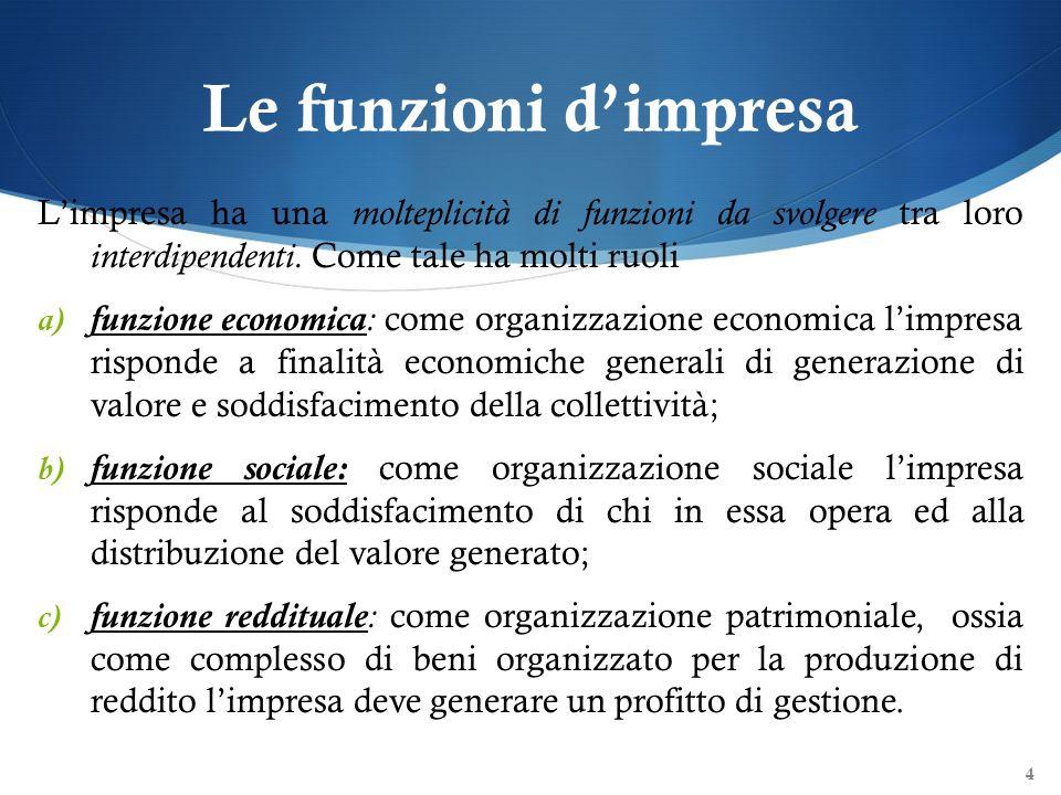 Le funzioni dimpresa Limpresa ha una molteplicità di funzioni da svolgere tra loro interdipendenti. Come tale ha molti ruoli a) funzione economica : c