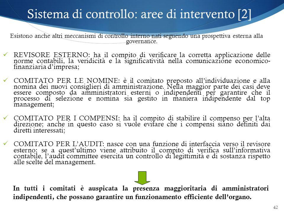 42 Esistono anche altri meccanismi di controllo interno nati seguendo una prospettiva esterna alla governance. REVISORE ESTERNO: ha il compito di veri